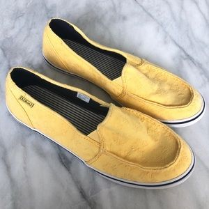 L.L. Bean Yellow Floral Slip On Shoes (Size 9)